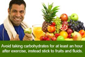 Avoid corbohydrates immediately after exercise